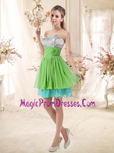 2016 Affordable Sweetheart Short Prom Dresses with Sequins and Belt