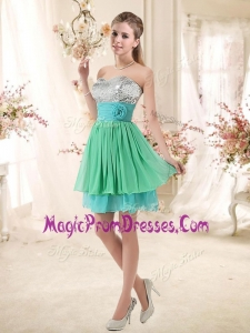 Lovely 2016 Short Prom Dresses with Sequins and Belt
