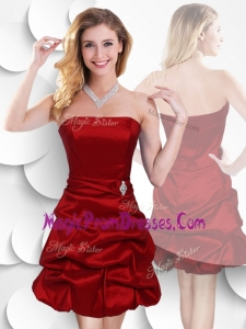 2016 Latest Strapless Taffeta Wine Red Prom Dress with Bubles
