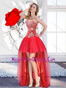 Fashionable Red High Low 2016 Prom Gowns with A Line