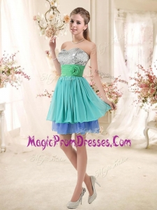 Fashionable Short Multi Color Prom Gowns with Sequins and Hand Made Flowers