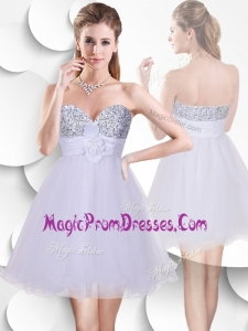 Fashionable Short Prom Gowns with Sequins and Hand Made Flowers