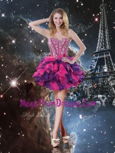 Fashionable Short Sweetheart Prom Gowns with Beading and Ruffled Layers for Fall