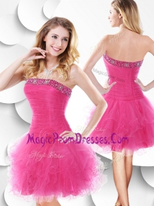 Fashionable Strapless Hot Pink Prom Gowns with Beading and Ruffles