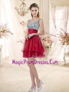 Fashionable Straps Sequins and Ruching Prom Gowns in Wine Red