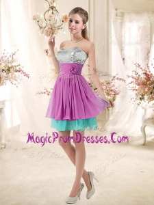 Fashionable Sweetheart Sequins and Belt Prom Gowns in Multi Color