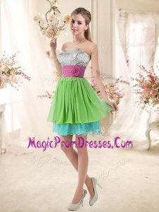 Fashionable Sweetheart Short Prom Gowns with Sequins and Belt