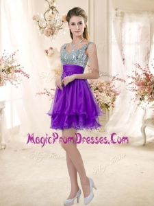 Impressive Straps Short Purple Prom Dresses with Sequins
