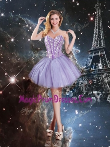 Pretty Sweetheart Mini-length Beading Prom Gowns in Lavender