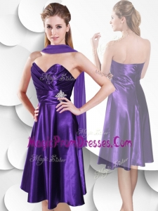 Impressive Empire Sweetheart Elastic Woven Satin Prom Dress with Beading and Ruching