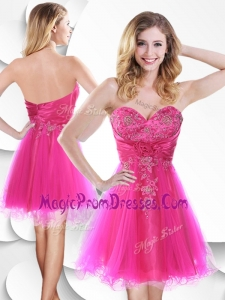 Impressive Short Hot Pink Prom Dress with Beading and Hand Made Flowers