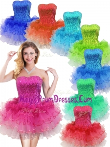 Impressive Strapless Short Prom Dress with Sequins and Ruffles