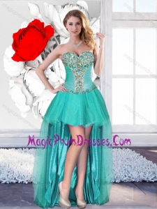Perfect Beaded Turquoise Prom Dresses with High Low