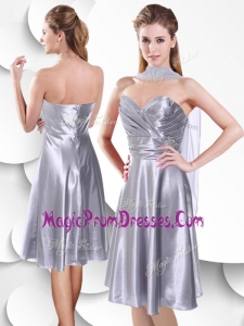 Perfect Empire Elastic Woven Satin Silver Prom Dress with Beading and Ruching