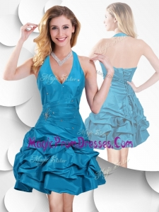 Perfect Halter Top Taffeta Teal Prom Dress with Bubles