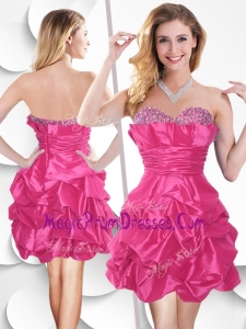Perfect Hot Pink Taffeta Prom Dress with Beading and Bubles