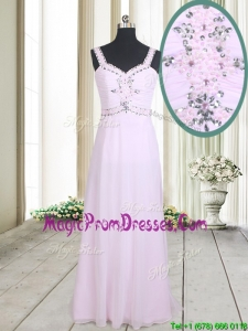 2017 Best Selling Beaded Empire Straps Chiffon Long Prom Dress in Baby Pink
