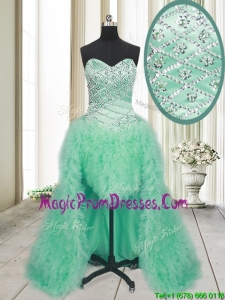 2017 Elegant High Low Brush Train Beaded and Ruffled Prom Dress in Apple Green