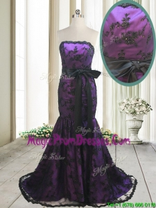2017 Hot Sale Laced and Bowknot Strapless Black and Purple Prom Dress with Brush Train