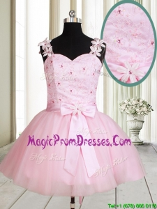2017 New Applique Decorated Straps Baby Pink Short Prom Dress with Beading and Bowknot