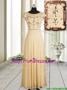 Discount See Through Back Beaded Cap Sleeves Chiffon Prom Dress in Champagne