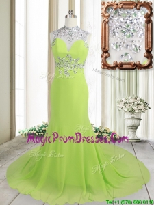 Unique Column High Neck Backless Spring Green Brush Train Prom Dress with Beading