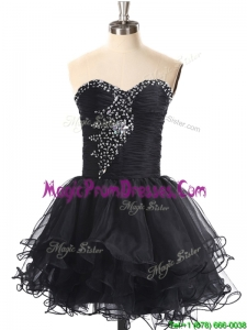 2016 Best Selling Beaded Black Prom Dress in Organza