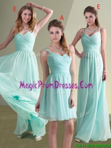 2016 Cheap Straps Beaded and Ruched Aqua Blue Dama Dress in Chiffon