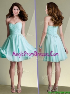 2016 New Arrivals Empire Ruched Chiffon Short Dama Dress in Aqua Blue