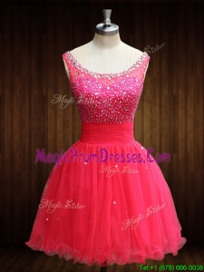 Casual Beaded Bodice Open Back Organza Prom Dress in Coral Red