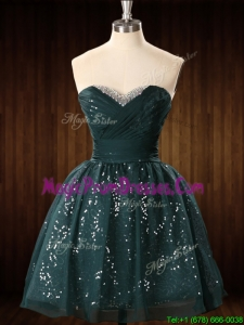 Casual Beaded Top Dark Green Short Prom Dress in Organza