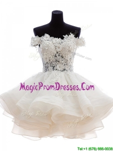 Casual Off the Shoulder White Prom Dress with Appliques