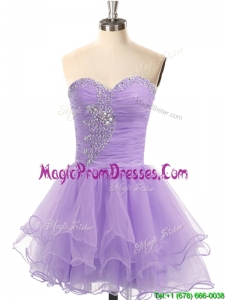 Casual Organza Lace Up Beaded Prom Dress in Lavender