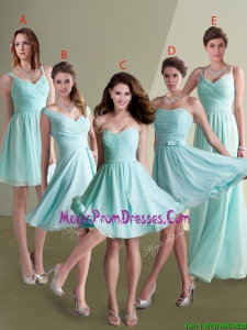 New Style Empire Ruched Decorated Chiffon Dama Dress in Aqua Blue