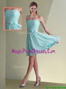 New Style Strapless Chiffon Short Prom Dress with Belt and Ruching