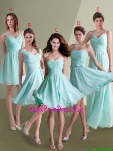 2016 Elegant Empire Ruched Decorated Chiffon Prom Dress in Aqua Blue