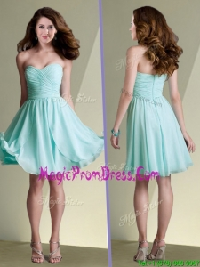 2016 New Arrivals Empire Ruched Chiffon Short Prom Dress in Aqua Blue