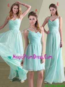 New Style Straps Beaded and Ruched Aqua Blue Prom Dress in Chiffon