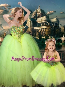 New Style Beaded Really Puffy Prom Dress in Yellow Green and Classical Spaghetti Straps Little Girl Dress with Beading