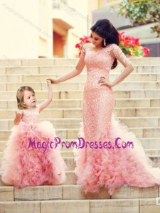New Style Column Long Sleeves Prom Dress with Brush Train and Affordable Ruffled and Laced Little Girl Dress in Watermelon Red