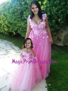 New Style Deep V Neckline Prom Dress with Appliques and Hot Sale Rose Pink Little Girl Dress with See Through Scoop