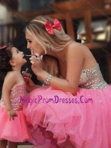 New Style Knee Length Prom Dress with Beading and New Style Beaded Little Girl Dress with Strapless