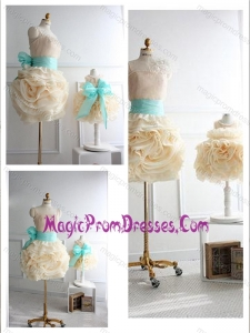 Top Selling Rolling Flowers Prom Dress with Sashes and Discount Scoop Little Girl Dress with Rolling Flowers