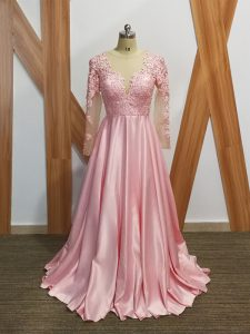 Long Sleeves Elastic Woven Satin Backless Prom Gown in Baby Pink with Beading and Appliques
