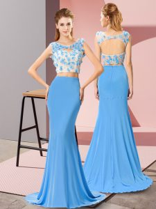 Modest Baby Blue Backless Scoop Beading and Hand Made Flower Prom Party Dress Chiffon Sleeveless Brush Train