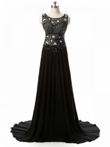 Unique Chiffon Scoop Sleeveless Brush Train Side Zipper Beading and Lace and Appliques Oscars Dresses in Black