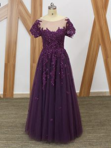 Luxury Short Sleeves Lace and Appliques Zipper Prom Evening Gown
