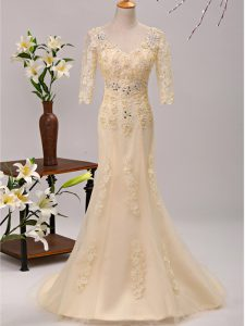 Customized V-neck 3 4 Length Sleeve Brush Train Lace Up Homecoming Dress Champagne Tulle