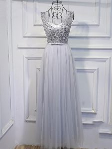 Tulle Scoop Sleeveless Lace Up Beading and Sequins Prom Gown in Grey