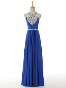 Pretty Sleeveless Floor Length Beading and Ruching Zipper Prom Dresses with Royal Blue